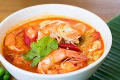 Soupe épicée thaïlandaise à crevette comme savent comme Tom Yum Kungin image libre de droits