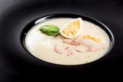 Soupe aigre faite maison servie avec l'oeuf du plat foncé images libres de droits