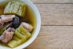 Soupe amère à melon avec des nervures de porc Photographie stock