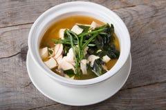 Soupe asiatique à tofu avec l'algue images stock