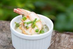 Soupe au riz avec la crevette Photographie stock libre de droits