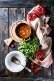 Soupe aux pois à tomate de carotte Photographie stock