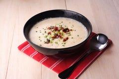 Soupe aux pommes de terre avec des champignons de couche image stock