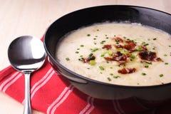 Soupe aux pommes de terre avec des champignons de couche photographie stock