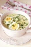 Soupe aux pommes de terre avec l'oeuf, crème sure Photographie stock libre de droits