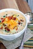 Soupe aux pommes de terre chargée photo libre de droits