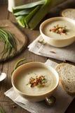 Soupe aux pommes de terre crémeuse faite maison et à poireau Photo libre de droits