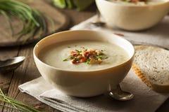 Soupe aux pommes de terre crémeuse faite maison et à poireau Photos stock