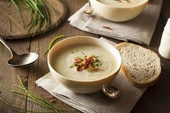 Soupe aux pommes de terre crémeuse faite maison et à poireau Images libres de droits