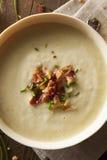 Soupe aux pommes de terre crémeuse faite maison et à poireau Image stock