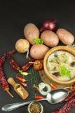 Soupe aux pommes de terre faite maison avec des champignons Cuvette avec la soupe aux pommes de terre sur la table en bois Prépar Photo stock