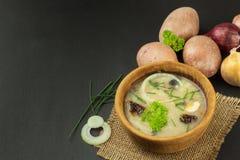 Soupe aux pommes de terre faite maison avec des champignons Cuvette avec la soupe aux pommes de terre sur la table en bois Prépar Images libres de droits