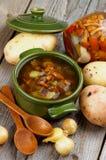 Soupe avec des champignons de chanterelle Photographie stock libre de droits