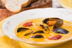 Soupe avec des fruits de mer Images libres de droits