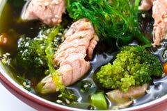 Soupe avec des saumons image libre de droits