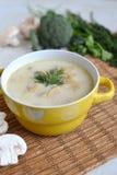 Soupe avec du fromage et des champignons dans un plat jaune Image stock