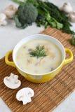 Soupe avec du fromage et des champignons dans un plat jaune Image libre de droits