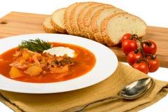Soupe avec du pain Images stock