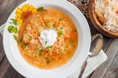 Soupe avec la choucroute et le millet Image libre de droits