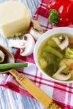 Soupe avec le brocoli, les légumes et les champignons Image libre de droits