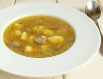 Soupe avec les pommes de terre et le foie de poulet Photographie stock