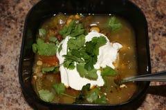 Soupe aztèque sud-américaine chaude fraîche avec de la crème images stock