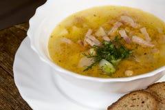 Soupe chaude avec de la viande et le pain grillé photographie stock libre de droits