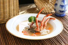 Soupe chinoise avec le crabe Photographie stock
