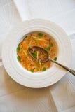 Soupe claire à tomate avec les légumes coupés Images stock