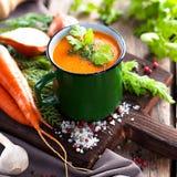Soupe crème à carotte Photo stock