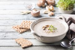 Soupe crème à champignon Photos libres de droits
