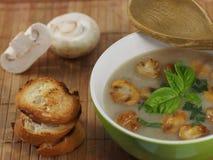 Soupe crème avec le champignon de paris Photo libre de droits