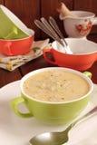 Soupe crème avec les pommes de terre et la crème photos stock