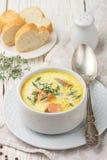 Soupe crème délicieuse avec les saumons frais avec des légumes et des épices Photographie stock