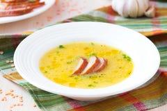 Soupe crème de lentille rouge avec de la viande fumée, canard, poulet image libre de droits