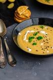 Soupe crème végétale avec le basilic, le sésame noir et les biscuits de fromage Image stock