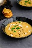 Soupe crème végétale avec le basilic, le sésame noir et les biscuits de fromage Photo libre de droits