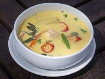 Soupe crémeuse à cari vert avec du lait de noix de coco, crevette, poivron rouge, haricot dans la cuvette blanche, cuisine thaïla Photographie stock