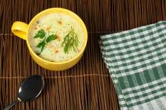 Soupe crème à poulet Photos stock