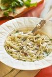 Soupe de nouilles avec des coeurs de dinde Image libre de droits