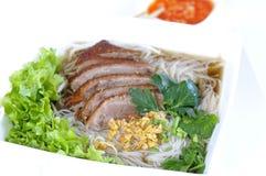 Soupe de nouilles avec le canard de Pékin Image stock