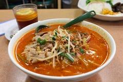 Soupe de nouilles chinoise épicée Images libres de droits
