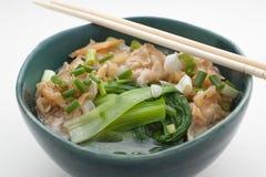 Soupe de nouilles chinoise avec du porc et des épinards Image stock