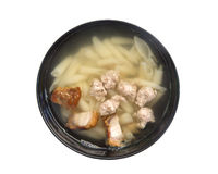 Soupe de nouilles de porc d'isolement sur le fond blanc photos libres de droits