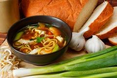Soupe de nouilles de poulet Photos libres de droits