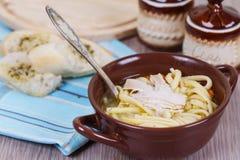 Soupe de nouilles de poulet Image stock