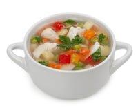 Soupe de nouilles de poulet d'isolement sur un fond blanc Images stock