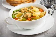 Soupe de nouilles de Vegan avec des gros morceaux de soja Photo stock