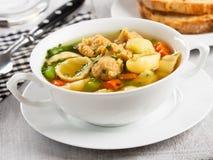 Soupe de nouilles de Vegan avec des gros morceaux de soja Images libres de droits