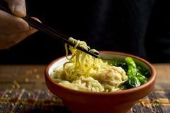 Soupe de nouilles de wonton de crevette avec la somme choy Photographie stock